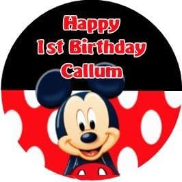 Personalised Edible Mickey Mouse Cake Topper