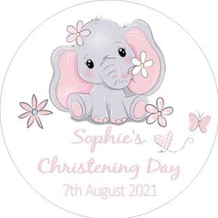 Personalised Edible Pink Elephant Christening Cake Topper