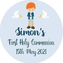 Personalised Edible Red Hair Boy Communion Cake Topper 2