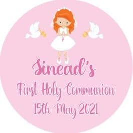 Personalised Edible Red Hair Girl Communion Cake Topper 2
