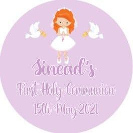Personalised Edible Red Hair Girl Communion Cake Topper 3