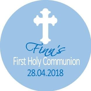 Personalised Edible White Cross Blue Communion Cake Topper