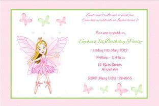 Personalised Fairy and Butterflies Invitations