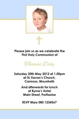 Personalised First Communion Blue Photo Invitation