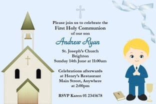 Personalised First Communion Invitations Blonde Hair Boy & Church