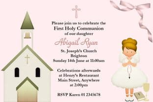 Personalised First Communion Invitations Blonde Hair Girl & Church