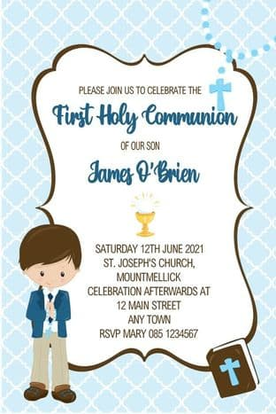 Personalised First Communion Invitations Boy & Bible Design