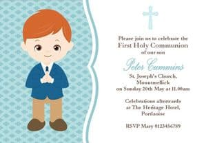 Personalised First Communion Invitations Boy New Design 10