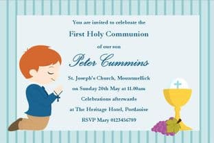 Personalised First Communion Invitations Boy New Design 11