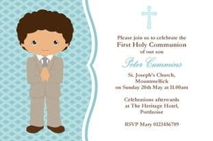 Personalised First Communion Invitations Boy New Design 3