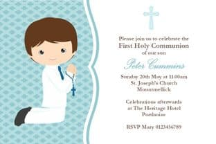 Personalised First Communion Invitations Boy New Design 5