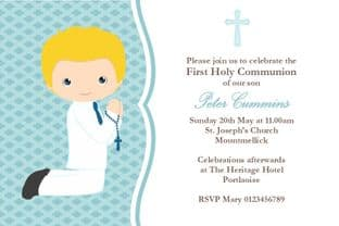 Personalised First Communion Invitations Boy New Design 6