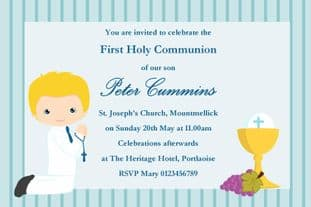 Personalised First Communion Invitations Boy New Design 7