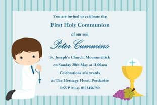 Personalised First Communion Invitations Boy New Design 8