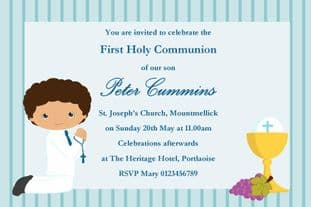 Personalised First Communion Invitations Boy New Design 9