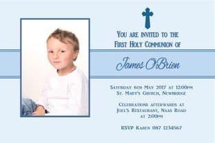 Personalised First Communion Invitations Boy Photo 2