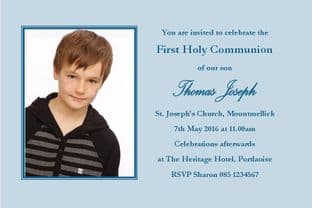 Personalised First Communion Invitations Boy Photo