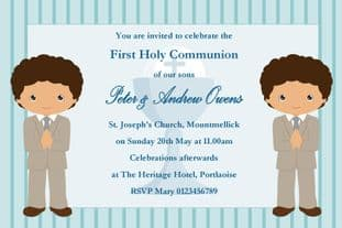 Personalised First Communion Invitations Boy Twins New Design 2