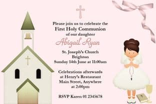 Personalised First Communion Invitations Brown Hair Girl & Church