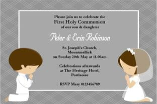 Personalised First Communion Invitations Daughter and Son Design 1