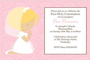 Personalised First Communion Invitations Daughter Design 10