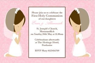 Personalised First Communion Invitations Daughter Girl Twins