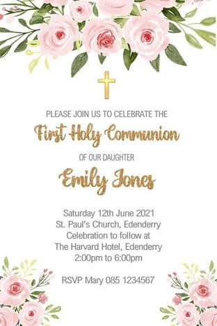 Personalised First Communion Invitations Floral & Gold