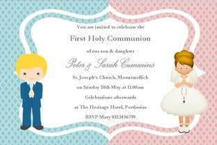Personalised First Communion Invitations Girl Boy Twins New Design 2
