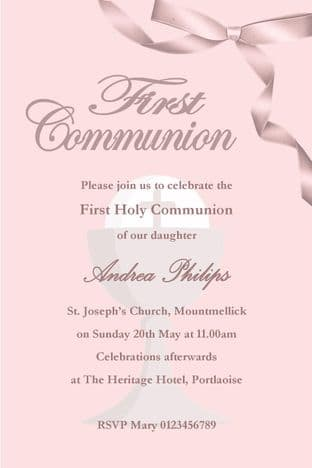 Personalised First Communion Invitations Girl New Design 1