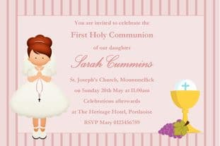 Personalised First Communion Invitations Girl New Design 7