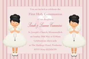 Personalised First Communion Invitations Girl Twins New Design 1