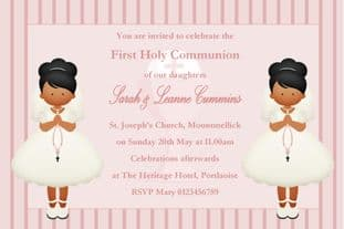 Personalised First Communion Invitations Girl Twins New Design 2