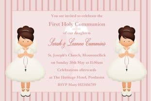 Personalised First Communion Invitations Girl Twins New Design 3