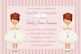 Personalised First Communion Invitations Girl Twins New Design 4