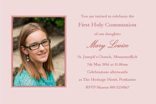 Personalised First Communion Invitations Photo Girl 1