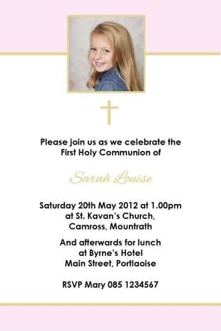 Personalised First Communion Invitations Photo Girl 4