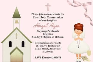 Personalised First Communion Invitations Red Hair Girl & Church