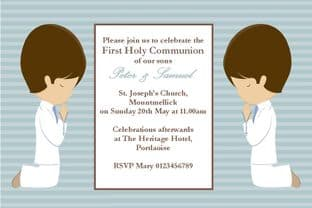 Personalised First Communion Invitations Son Boy Twins