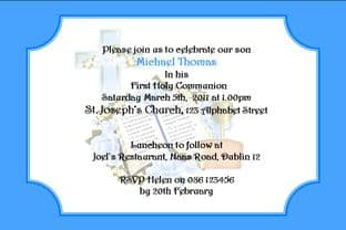 Personalised First Communion Invitations Son Design 1