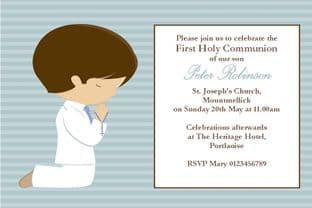 Personalised First Communion Invitations Son Design 10
