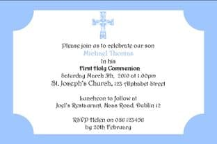 Personalised First Communion Invitations Son Design 5