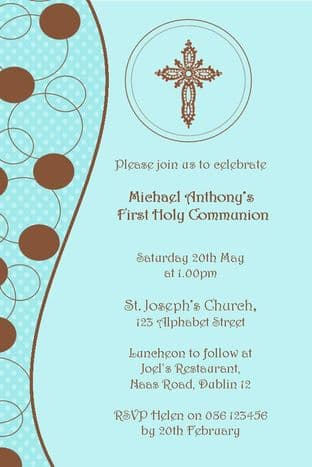 Personalised First Communion Invitations Son Design 7