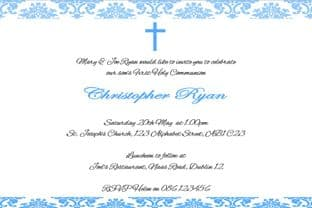 Personalised First Communion Invitations Son Design 9
