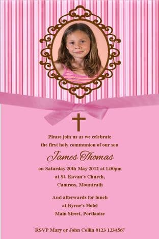 Personalised First Communion Photo Invitations Daughter Design 11