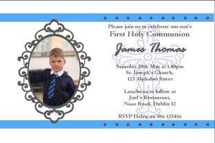 Personalised First Communion Photo Invitations Son Design 10