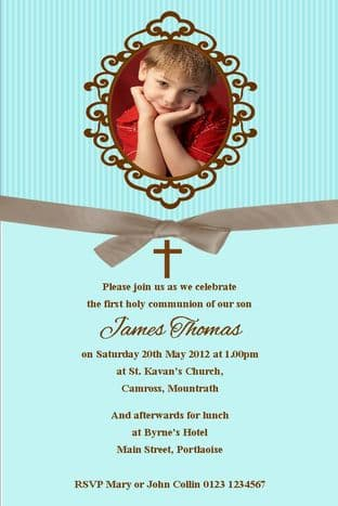 Personalised First Communion Photo Invitations Son Design 11