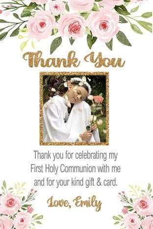 Personalised Floral & Gold Photo Thank You Card