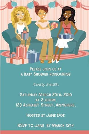 Personalised Friends Baby Shower Invitations