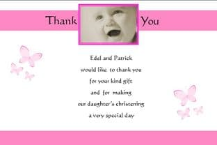 Personalised Girl Christening Thank You Cards (3)