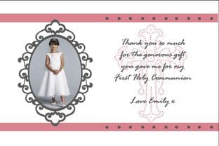 Personalised Girl Communion Girl Thank You Card Design 2